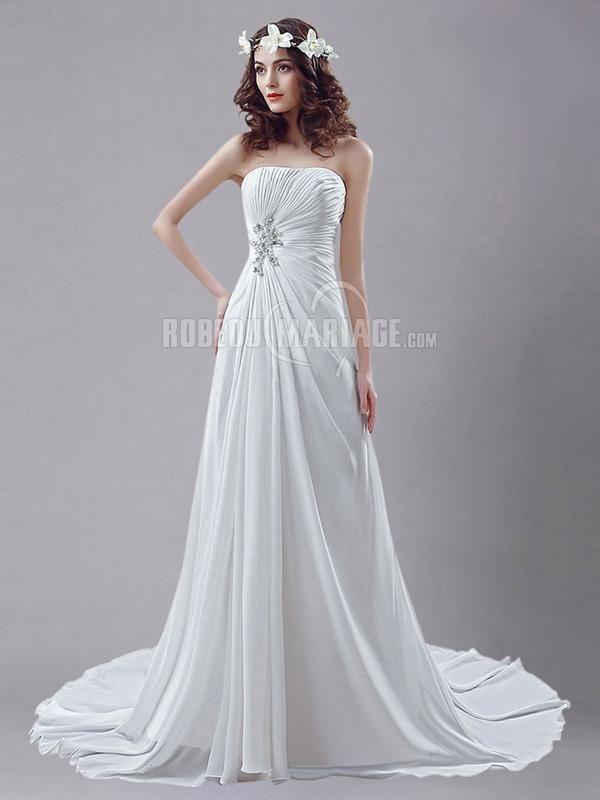 Bustier robe de mariée à traîne chapelle robe décorée de paillettes [#ROBE2013073] - robedumariage.com