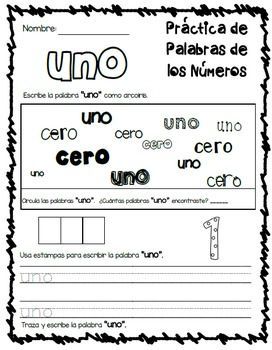 Palabras Frecuentes *Sight Word, Color Word, & Number Word