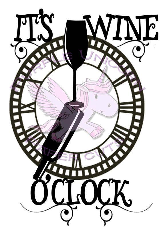 It's wine o'clock Paper cut template design by PurpleUnicornCuts