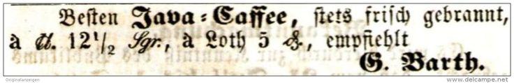 Original-Werbung/ Anzeige 1859 - JAVA CAFFEE  / BARTH - HALLE a.d. SAALE  - ca. 75 x 10 mm