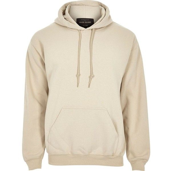River Island Stone casual hoodie ($30) ❤ liked on Polyvore featuring men's fashion, men's clothing, men's hoodies, hoodies, mens hoodies, mens tall hoodies and mens sweatshirts and hoodies