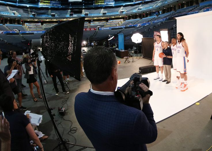 Nick Collison, Coach Billy Donovan, Russell Westbrook and Steven Adams during the Oklahoma City Thunder media day, Friday, September 23, 2016. Photo by Doug Hoke, The Oklahoman