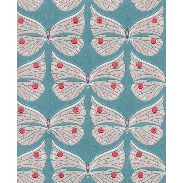 Perhonen wallpaper, turquoise, by Pihlgren & Ritola.
