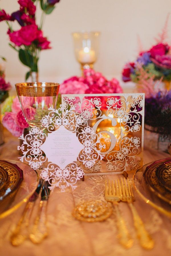 Laser-cut stationery y @Daniela I.   #wedding #luxury #menu #tablenumber   Photo: www.janiceyiphotography.ca   Wedding Planner: www.traceymevents.ca Featured on: Wedding Obsession Wedding Blog http://www.weddingobsession.com/2014/01/29/luxurious-mexico-inspired-style-shoot/