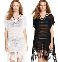 Blanco Negro Color Mujer traje de baño cubre hasta Crochet Bikini Beach Coverup vestido Señora Long Tassel Bañador traje de baño Vestidos