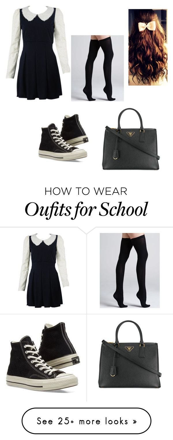 """School Girl"" by beckybedford on Polyvore featuring Converse, Commando and Prada"