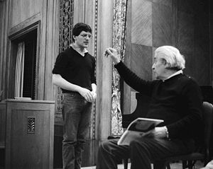 Sergiu Celibidache giving a conducting lesson at the Curtis Institute in 1984 to student David Bernard