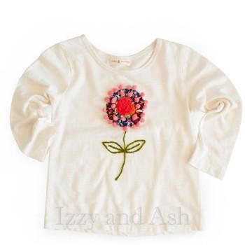 Mimi and Maggie Fall 2017|Mimi and Maggie Happiness Collection|Girls Flower Pom Pom Shirt|Tween Girls Clothes #girls #tween #toddler #children #kids #ivory #tshirt #shirt #shirts #tee #flower #flowers #floral #clothing #cute #trendy #embroidery #pompom #crochet