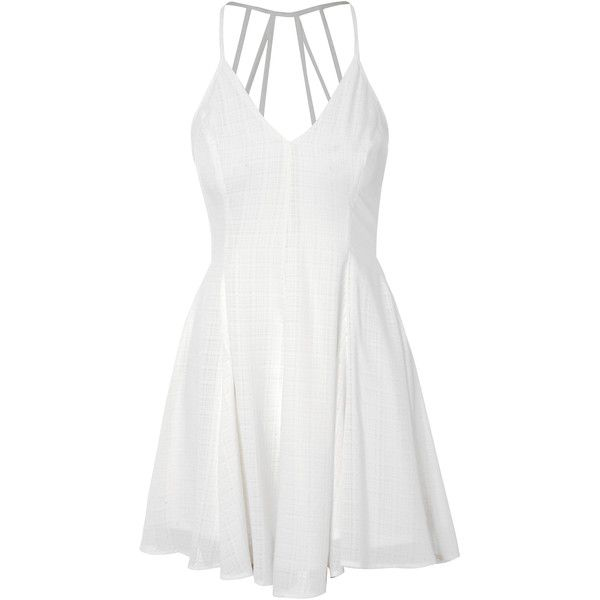 White Caged Back Skater Dress ($54) ❤ liked on Polyvore featuring dresses, white, skater party dresses, glamorous dresses, white day dress, white dress and white going out dresses