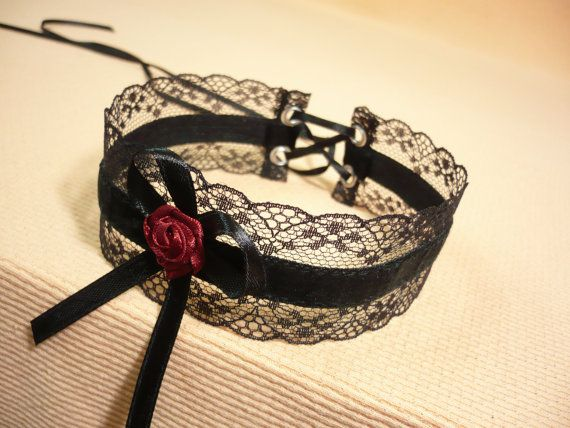 Items similar to Gothic Lace and Velvet Choker, Black Romantic Necklace with Burgundy Rose, Feminine Costume Neck Piece, Medieval,Victorian on Etsy