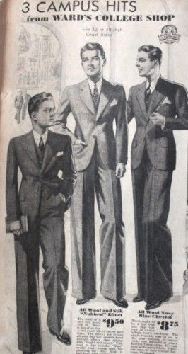 1933 Men's Suits for High School and College Men at Vintagedancer.com