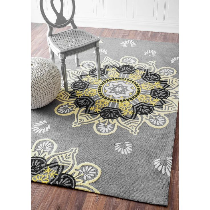 nuloom hand hooked light grey wool rug 7 39 6 x 9 39 6 home s w e e t home yellow rug grey. Black Bedroom Furniture Sets. Home Design Ideas