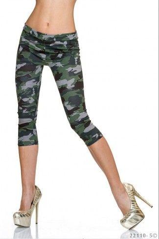Κάπρι στρατιωτικό leggings - Καμουφλάζ Λαδί