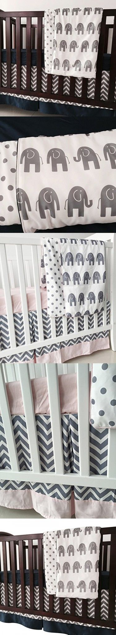 Sahaler Navy Blue Grey Chevron Elenphant 3 Piece Crib Bedding Set Baby Comforter Sheet Set