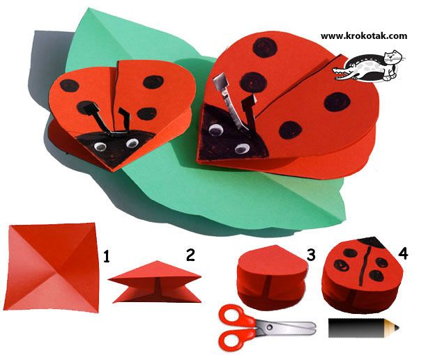 Paper LADYBIRDSBugs Parties, Kids Crafts, Child Crafts, Ladybugs, Origami, Lady Bugs, Paper Crafts, Bugs Crafts, Construction Paper