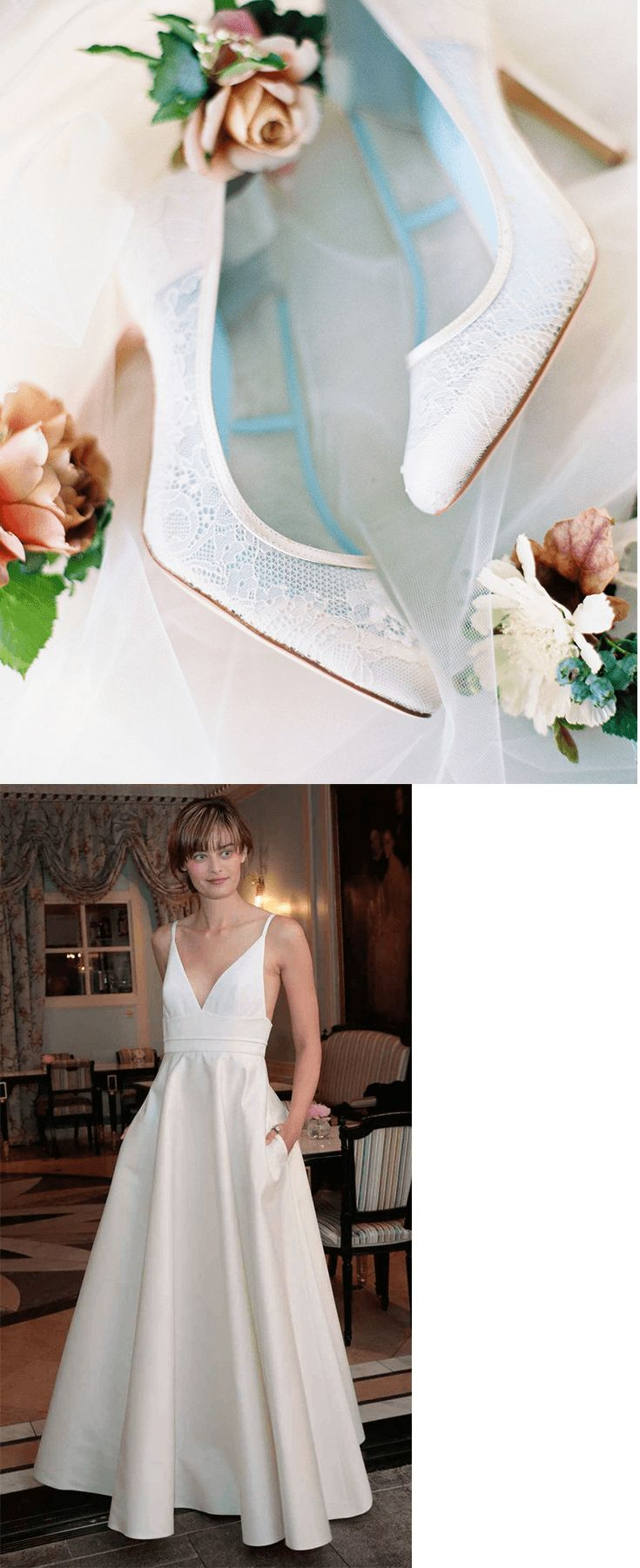 Next on What would Meghan Markle wear for her royal wedding is a simple, classic and chic Delphine Manivel ivory silk wedding dress. Comes with hidden side pockets for brides who are practical and a simple sweetheart cut. Pair with Bella Belle comfortable wedding heel, Millie. A classic white lace closed toe wedding shoe for the ultimate feminine touch with heavy padding for all day comfort.   Photography by Shannon Elizabeth.