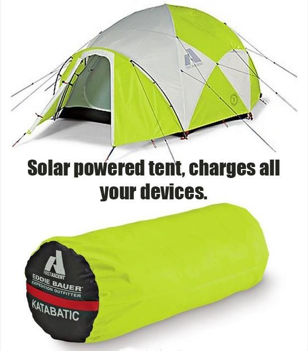 This solar powered tent will charge your gadgets while camping