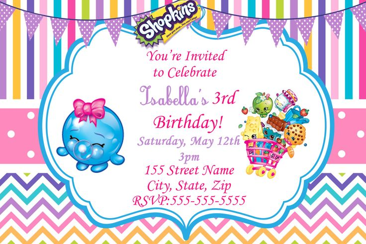 shopkins invitations free - Google Search