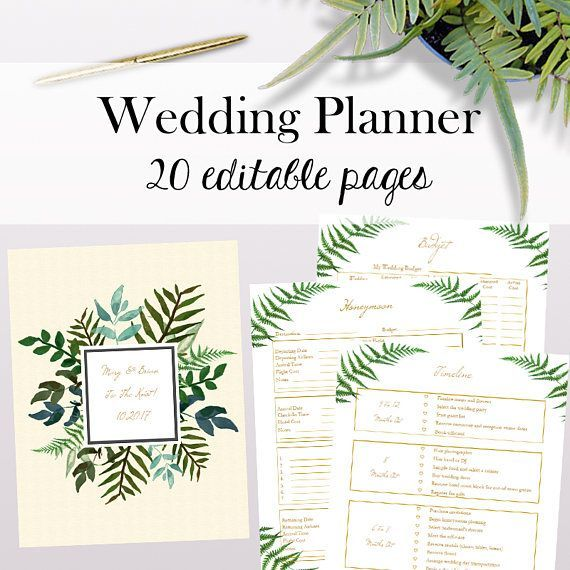 Bohemian Editable Wedding Planner, Printable Wedding Planner
