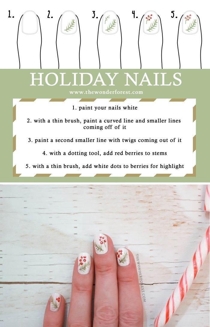 Holiday Nail Art: Berries and Spruce