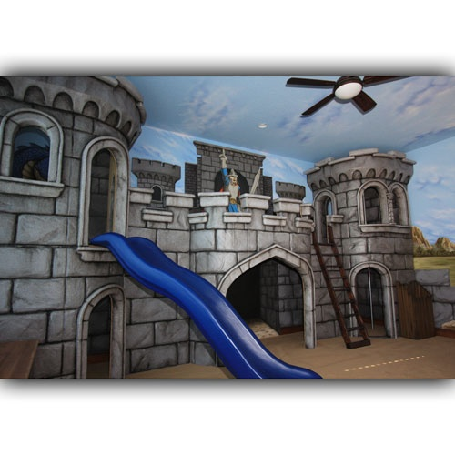 17 best images about kids beds and bedding on pinterest for Castle mural kids room