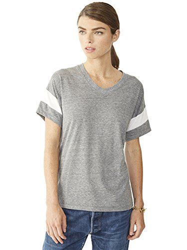 Special Offer: $12.88 amazon.com Crafted from our signature eco-jersey, this soft tee features a modern take on the sporty football style V-neck tee.Athletic-inspired T-shirt featuring V-neckline and placed stripe at sleeve