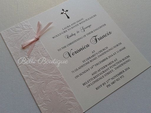 Baptism Invitation. Christening Invitation. Small square flat card. Printed on arctic white metallic card. Features pale pink decorative paper, pale pink bow & clear diamante. Comes with arctic white envelope. Minimum 20 cards. Quantity discounts apply.