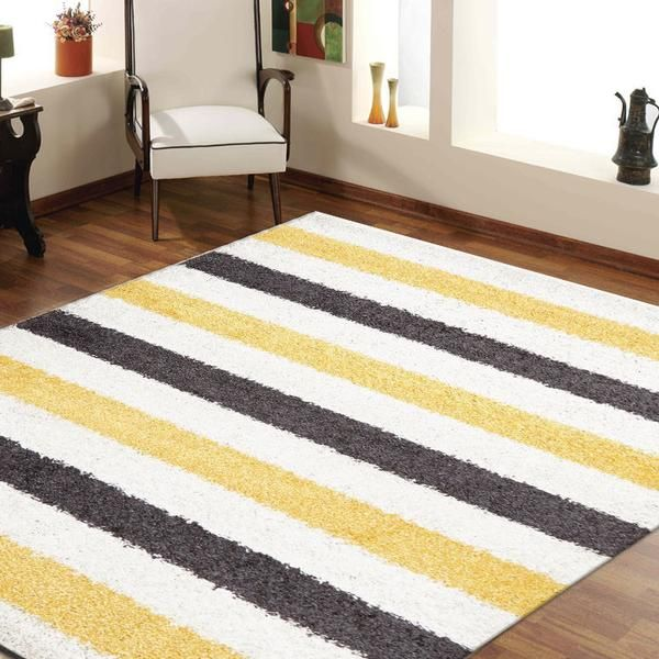 STENCIL SHAGGY FLOOR RUGS YELLOW CHARCOAL WHITE