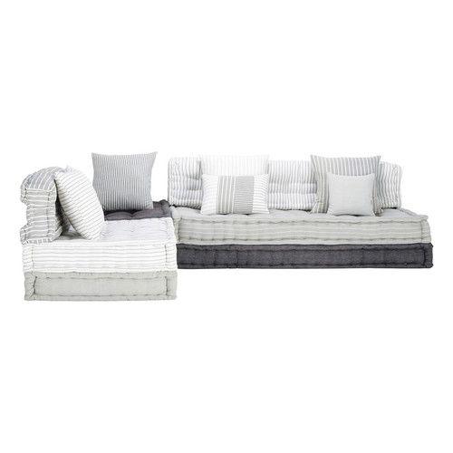 Divanetto ad angolo modulabile grigio e bianco in cotone 6 posti