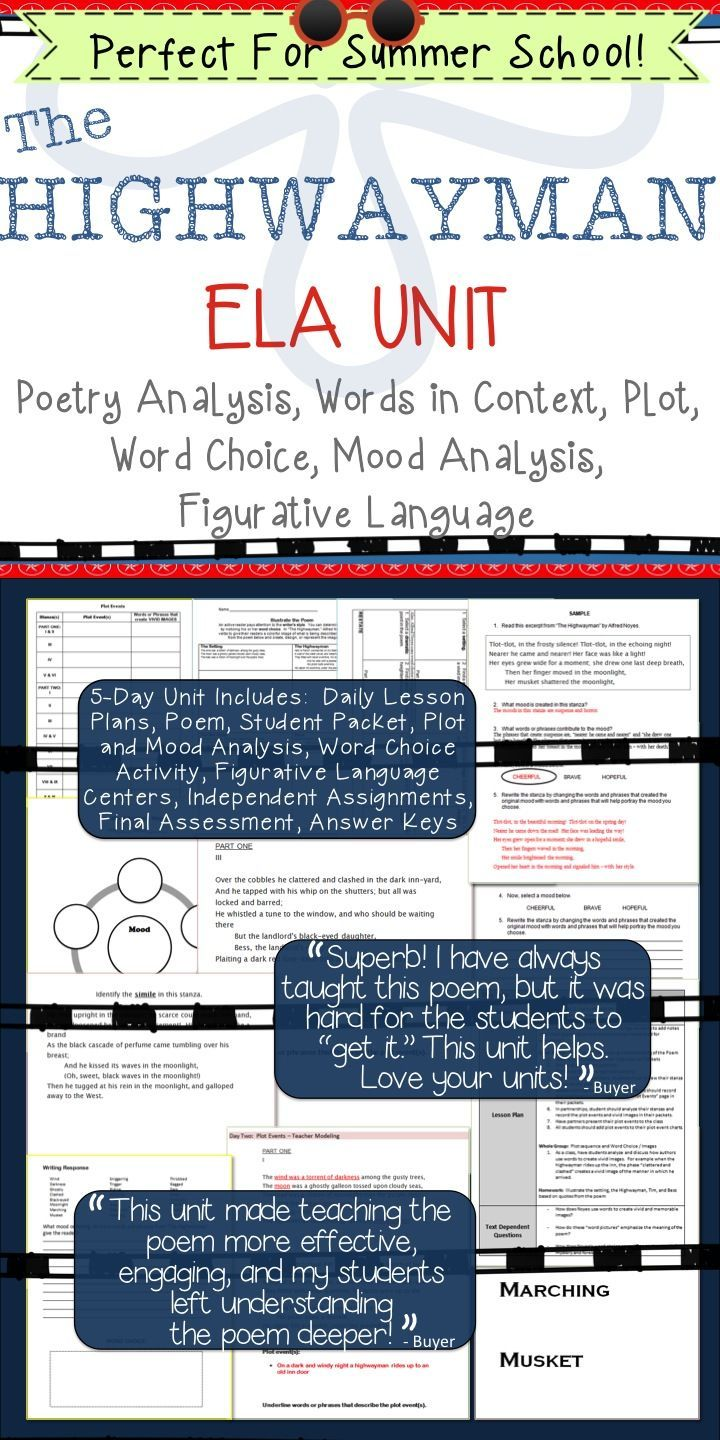 """This five-day unit is a close reading of """"The Highwayman"""" by Alfred Noyes. It is designed to help students analyze what the poem says explicitly as well as draw inferences from the text.   Topics of study include: Poem Analysis, Words in Context, Plot Seq"""