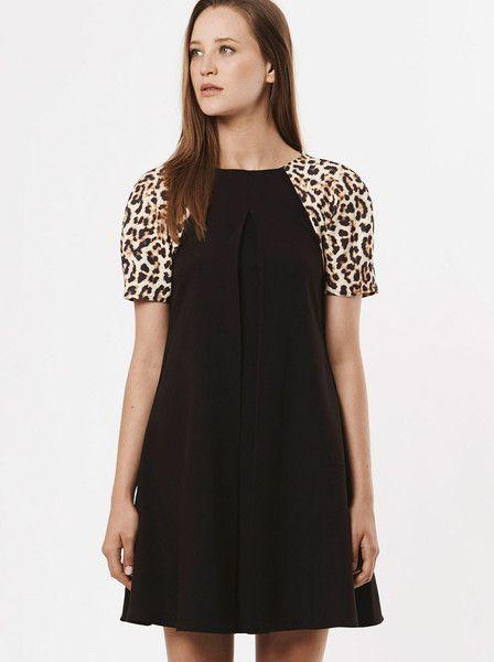 RUBY SEES ALL - Poetic Romance Dress - Black - Leopard Print Sleeve  $129.00