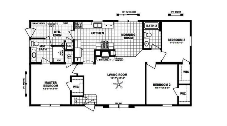 Hearthside 5228 schult mobile home built in minnesota for Fireplace floor plan