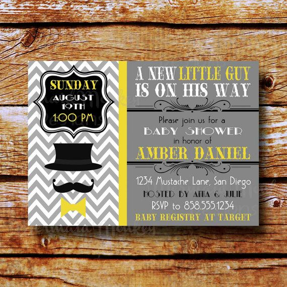 Charming Mustache And Bow Tie Baby Shower Invitations Part - 11: Baby Shower Mustache Invitation, Mustache Bash, Bowtie Baby Shower  Invitation, Yellow Gray Invitation, Little Man Invitation - Daniel