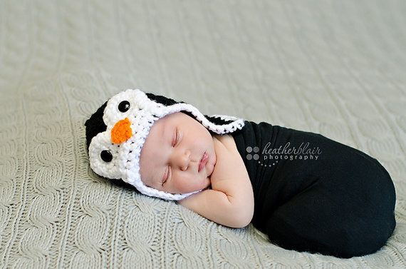 Newborn 03 Month Penguin Ear Flap Hat by BriarRoseCraftyThing, $25.00