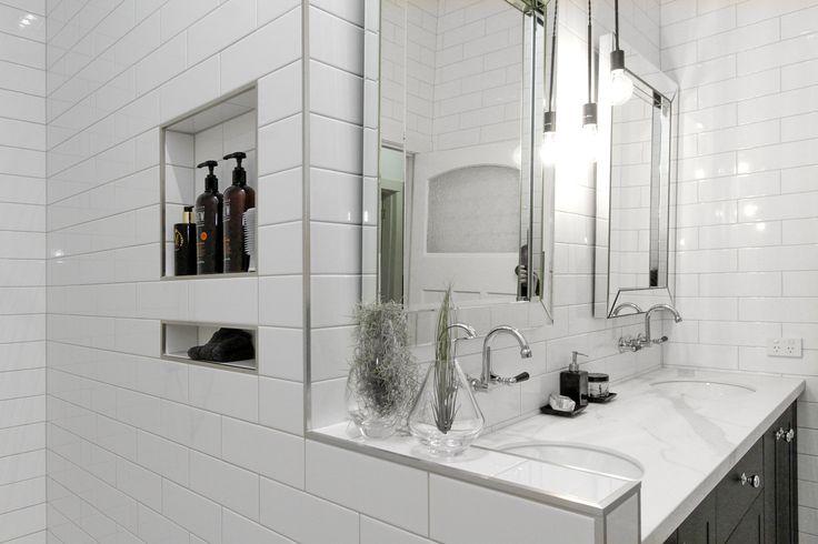 Bathroom subway tiles on walls, hexagon marble floor tile and walk in shower