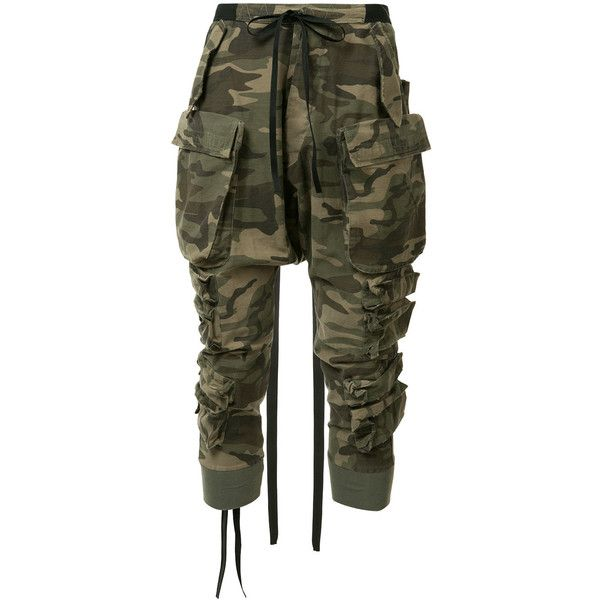 Unravel Project camouflage tapered trousers ($985) ❤ liked on Polyvore featuring men's fashion, men's clothing, men's pants, men's casual pants, pants, jeans, green, mens green pants, colorful mens pants and mens camo pants