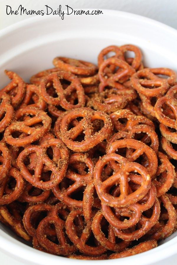 Doritos flavored pretzels recipe from One Mama's Daily Drama | Easy after school snack that cooks like Chex mix. Love the seasoning mix! It uses things you can easily find at the grocery store.