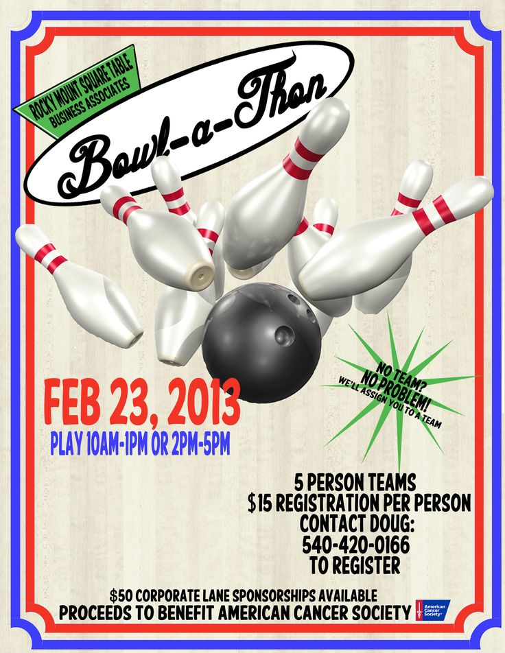Promo flyer by 1/2 of PlanSmith (my hubby!) for the Rocky Mount Square Table Business Associates for the Bowl-A-Thon Fundraiser to benefit the American Cancer Society!