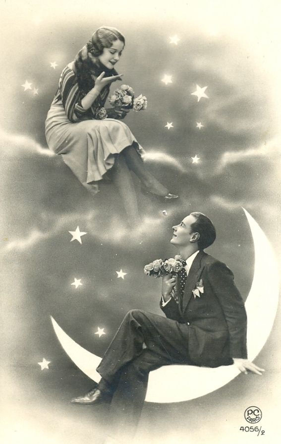 """maudelynn: """" Lovers' Moon 1920s paper moon portrait postcard from my collection """""""