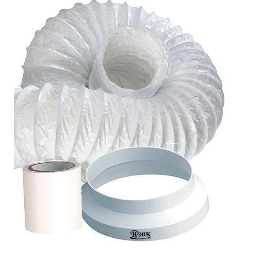 HDIUK 3m Portable Air conditioner Exhaust duct hose extension kit (2012 Improved version), Increase the length of your existing flexible hose  Specifically designed to be light and flexible. The HDIUK Portable Airconditioner duct extension kit is designed specifically to allow easy extension of the short hose vent supplied with most Portable AC Units. HDIUK Have spent many years perfecting this product to allow complete funtionality along with ease of use. This kit is NOT designed to..