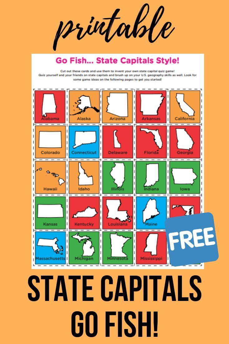 Go Fishing For State Capitals Download This Free Printable This Flexible Deck Allows You T States And Capitals Homeschool Social Studies Homeschool Geography