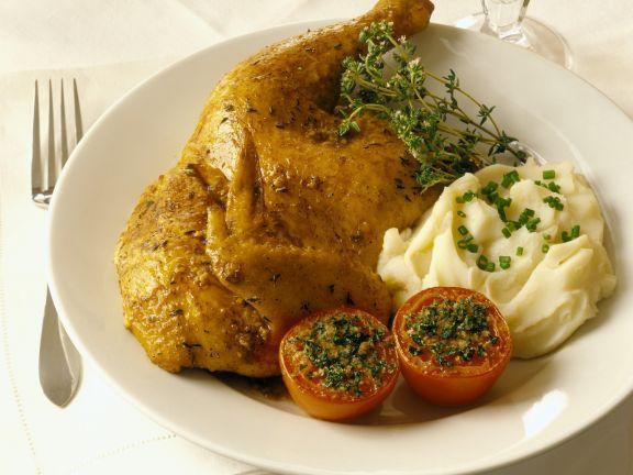 Halbes Händl mit Püree und überbackenen Tomaten ist ein Rezept mit frischen Zutaten aus der Kategorie Hähnchen. Probieren Sie dieses und weitere Rezepte von EAT SMARTER!