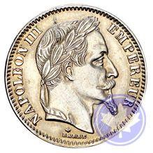 Monnaies françaises 20 francs 1869a faux en platine ttb-sup