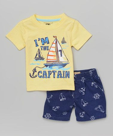 Look what I found on #zulily! Yellow 'Captain' Tee & Boardshorts - Infant, Toddler & Boys by Kids Headquarters #zulilyfinds