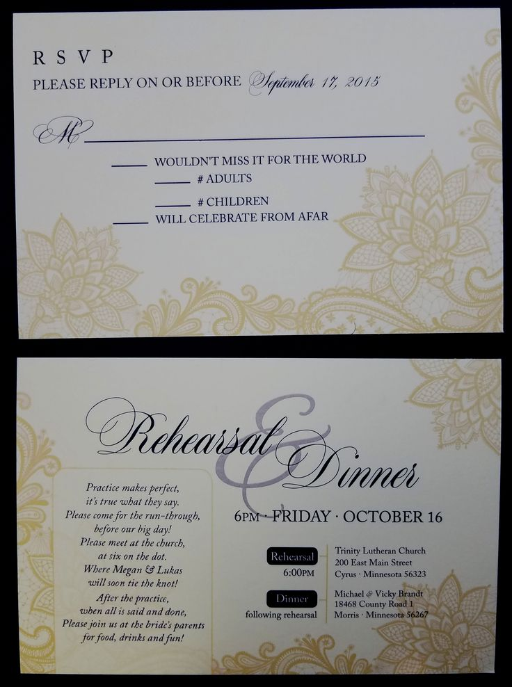 size of response cards for wedding invitations%0A Gold flower themed rsvp  u     rehearsal dinner