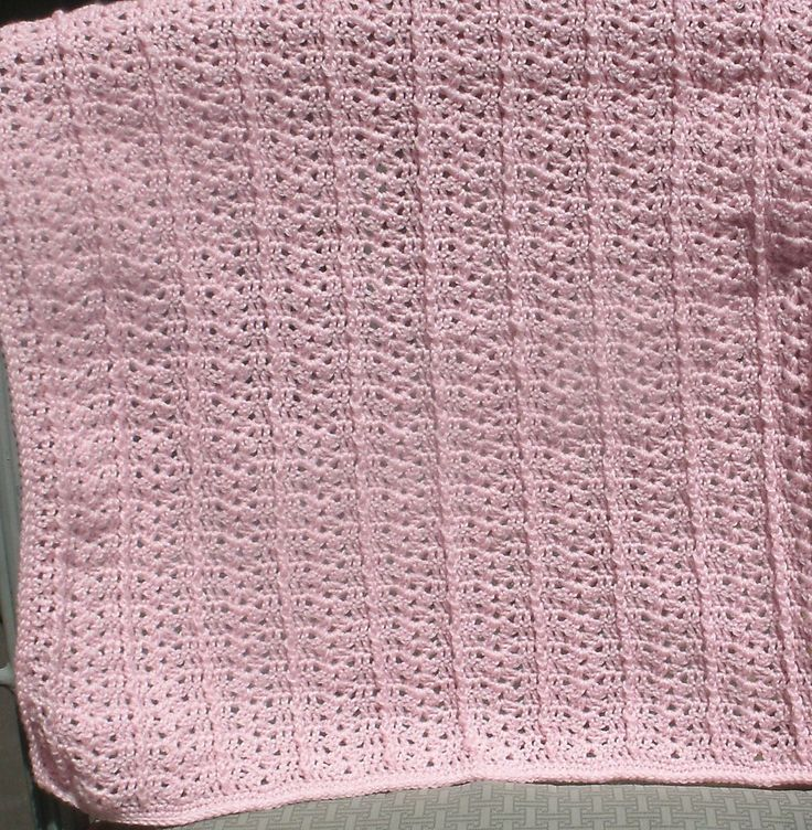 Baby Blanket - Single Ribbed Stitch  Single Ribbed Stitch Baby Blanket is hand crocheted in a light pink.  It measures 21 x 23 inches and is a good size for a wrapping blanket.  Created in the USA.  PH-1357 $39.95 + S/H