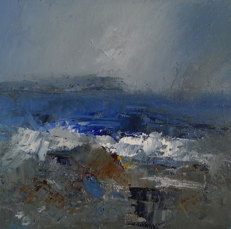 Stormy seas off the Heads of Ayr 9 x 9 inch oil on board