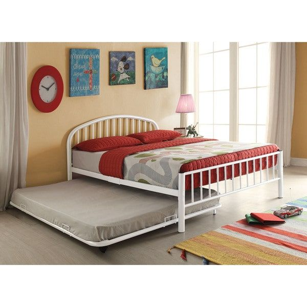 Cailyn White Metal Full-size Trundle Bed