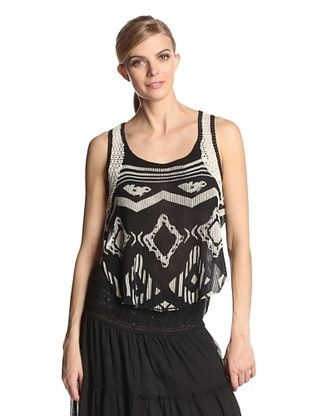 15% OFF Vintage Havana Women's Printed Tank with Crochet Trim (Black/ivory)