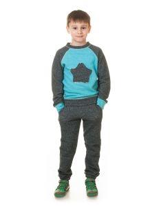 Детский спортивный костюм (104 - 128 см.)SK004 голубой, тёмно-синий